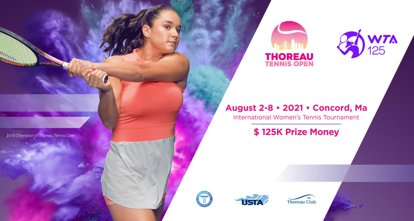 female tennis player promoting August 2-8 tournament in Concord MA